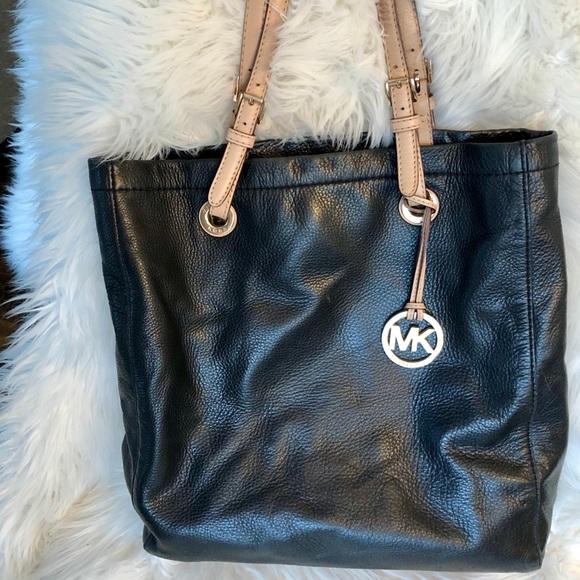 FUC Michael Kors Tote Purse, Leather, Black & Tan